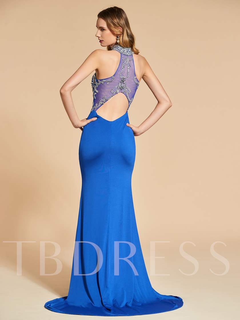 Rhinestone High Neck Mermaid Beading Evening Dress