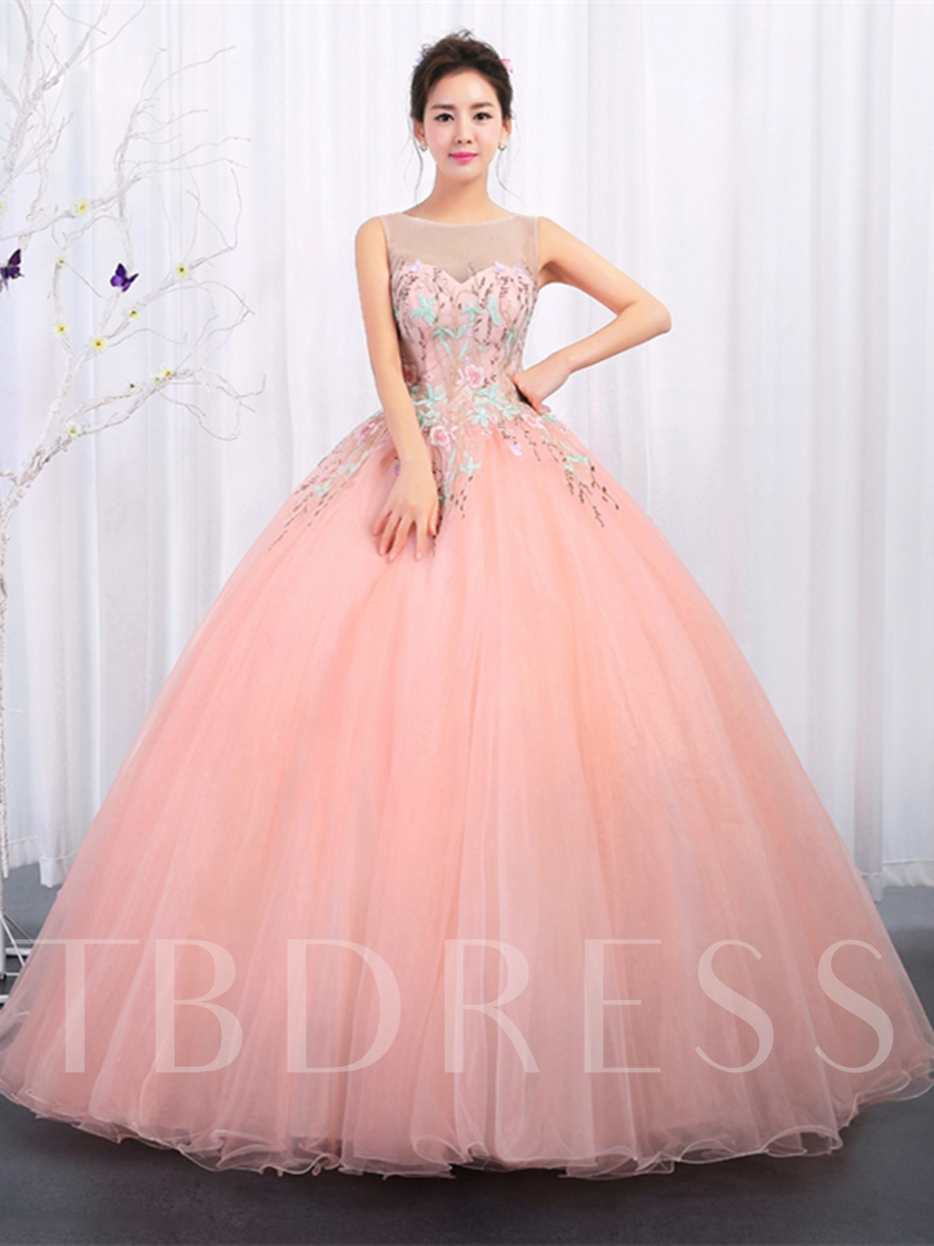 Bateau Embroidery Sleeveless Floor-Length Quinceanera Dress