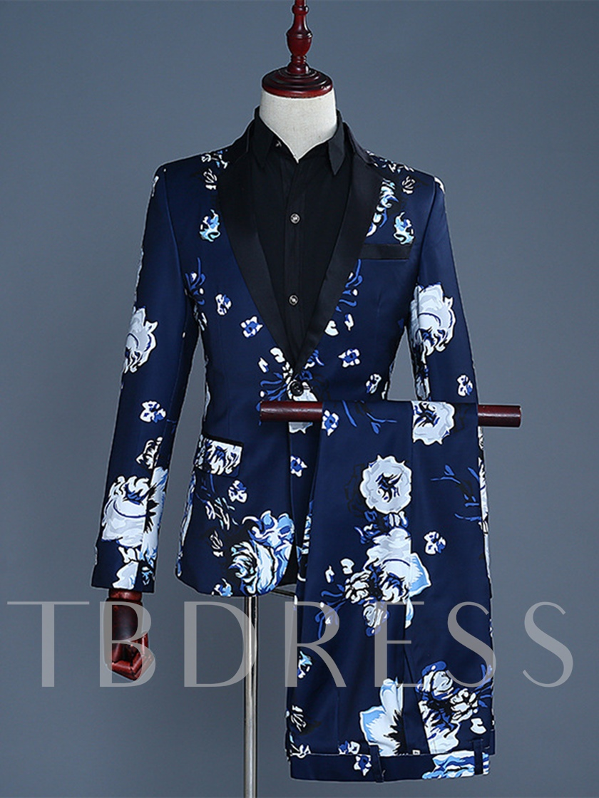 Fashion Flower Print Dinner Costumes Slim Fit Men's Dress Suit