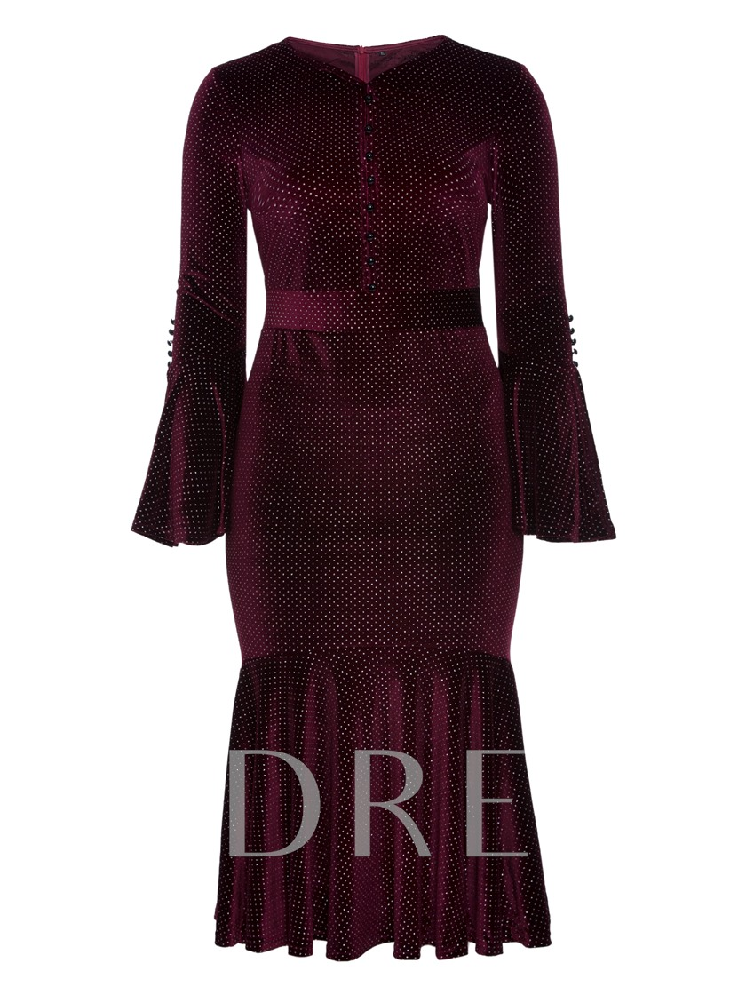Plus Size Burgundy Fishtail Bell Sleeve Women's Bodycon Dress