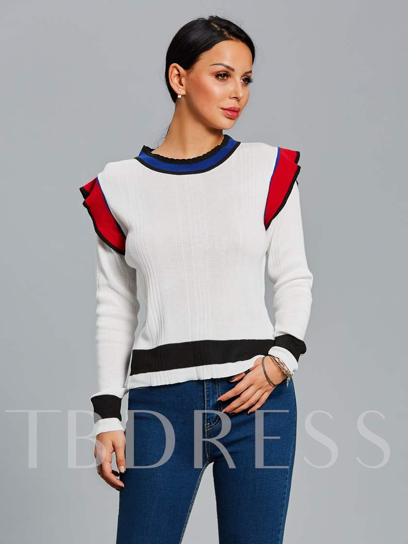 Round Neck Color Block Falbala Patchwork Slim Women's Sweater