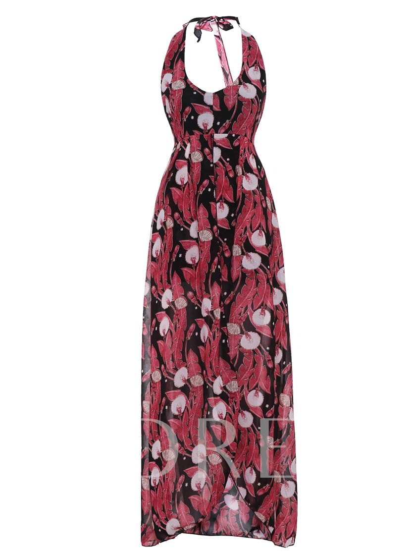 Floral Print Backless Vacation Women's Jumpsuit