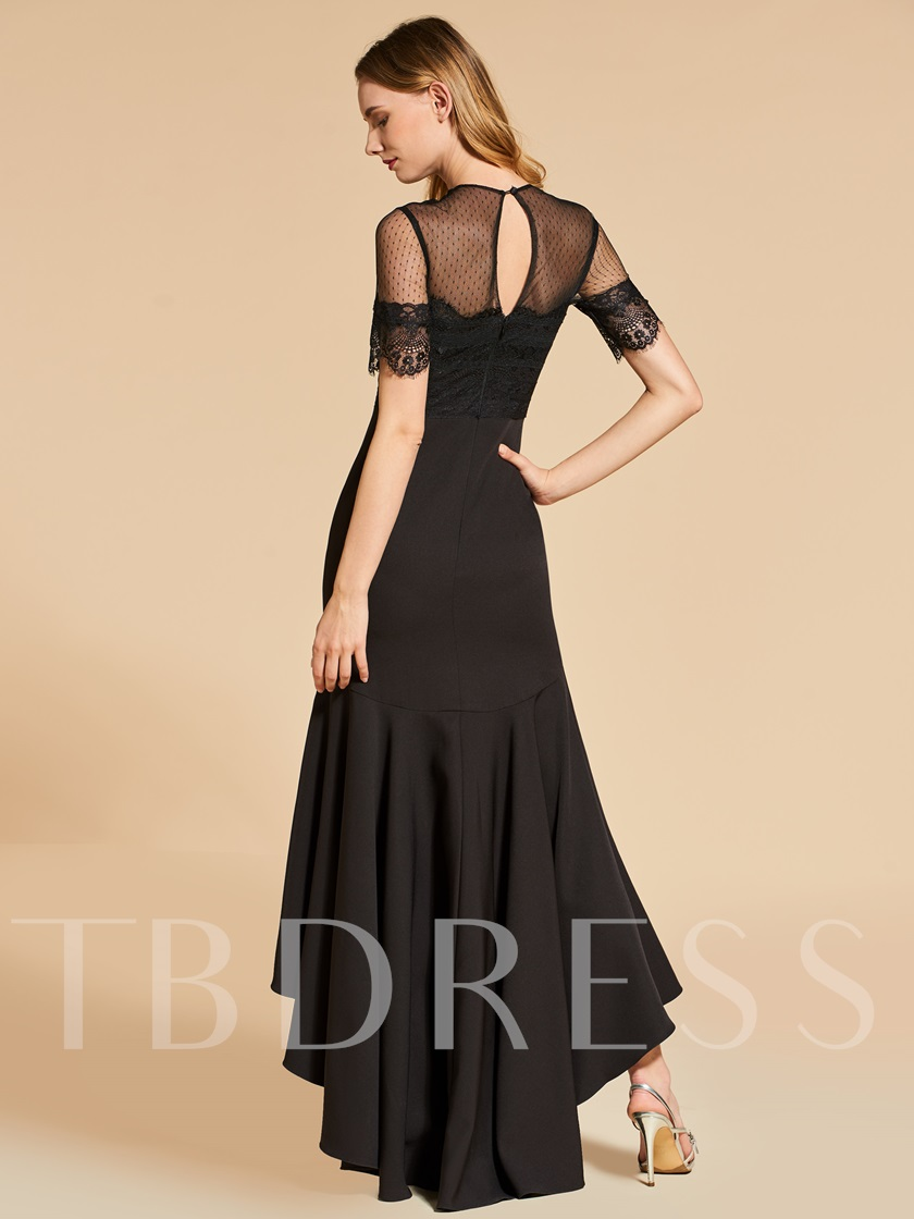 Jewel Short Sleeves Trumpet Asymmetry Evening Dress