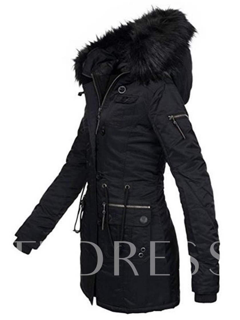 Pocket Regular Slim Zipper Mid-Length Women's Overcoat
