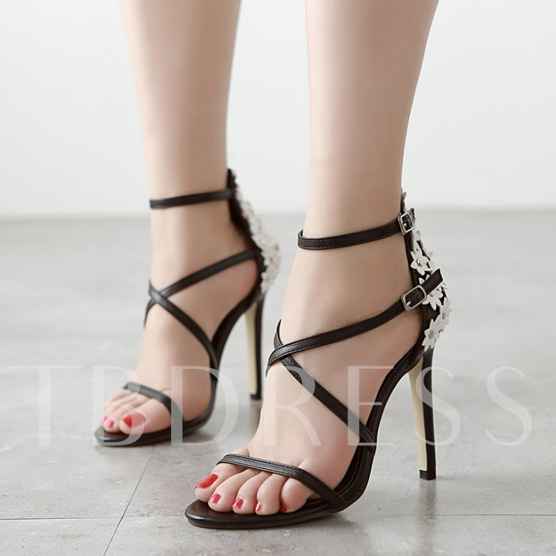 Appliques Black Buckle High Heel Strappy Sandals for Women