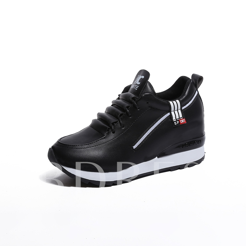Lace Up Height Increase White Platform Sneakers for Women