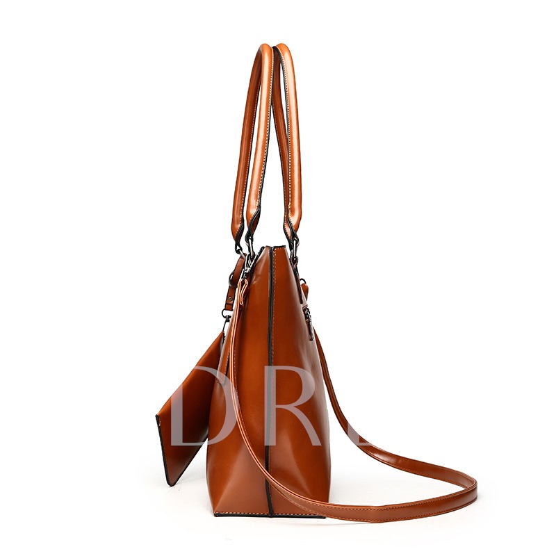 Solid Color Belt-Decorated Women Tote