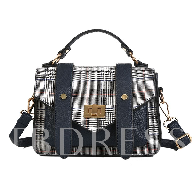 Casual Color Block Plaid PU Women Satchel