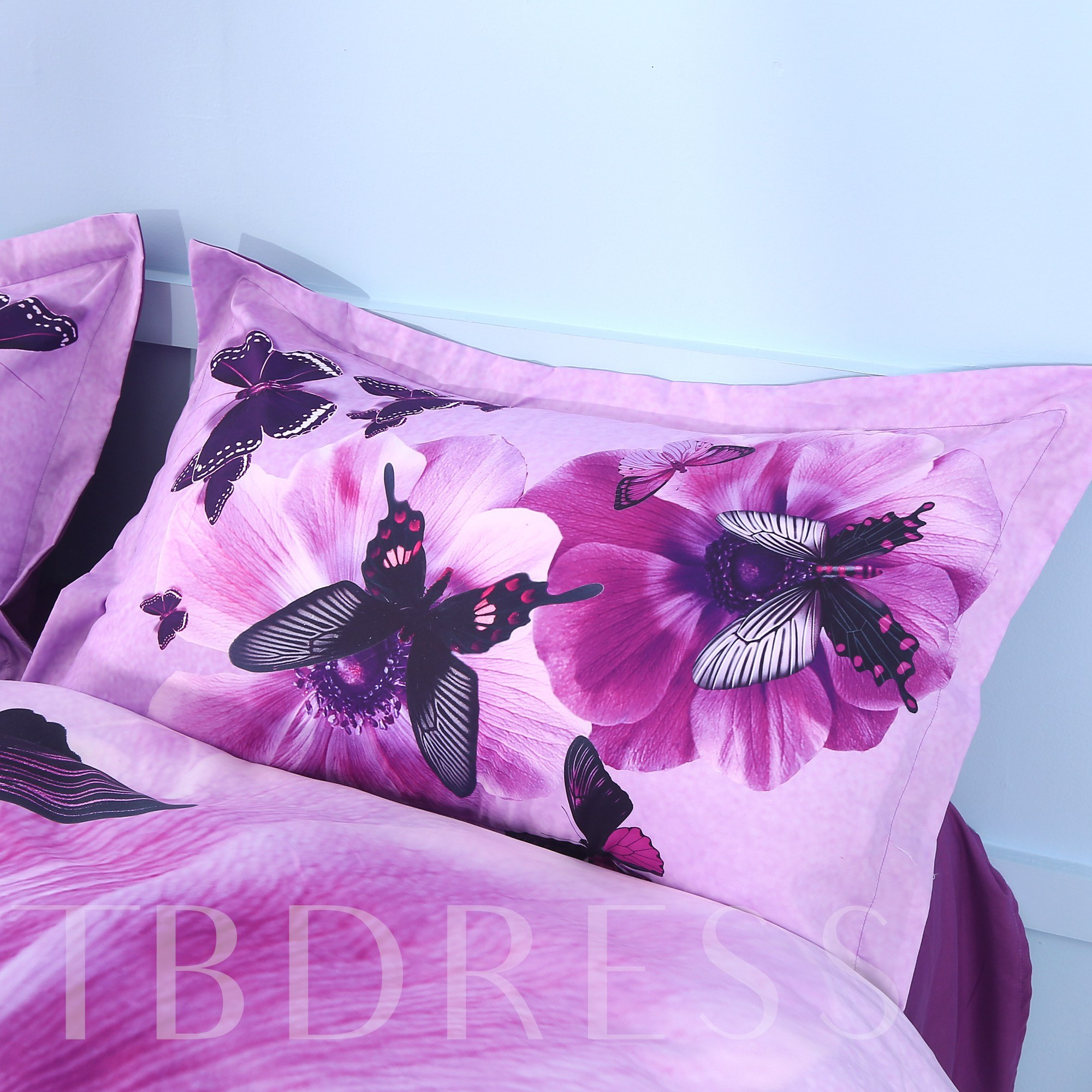 Pansy and Butterfly Printed Cotton 4-Piece Purple 3D Bedding Sets/Duvet Covers