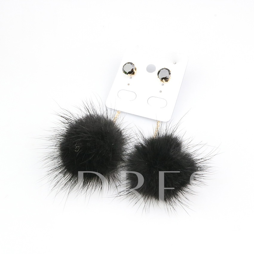 Rhinestone Plush Fuzzy Ball Pom Pom Earrings