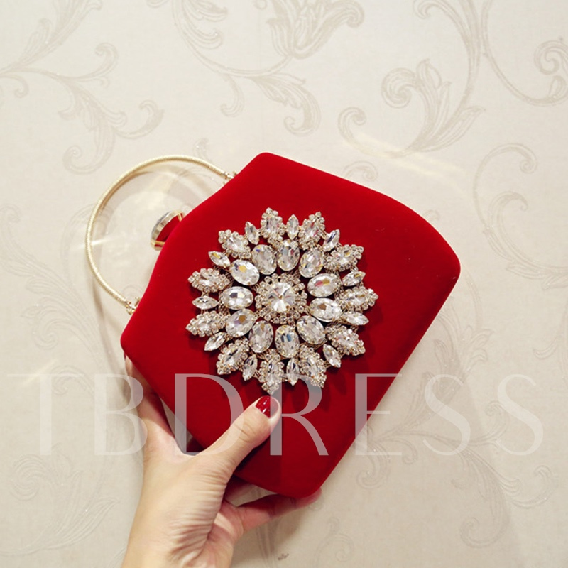 Floral Beads Decoration Solid Color Clutch