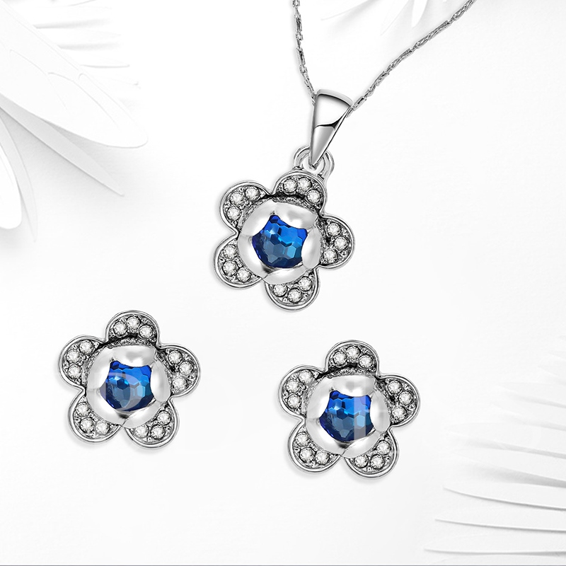 Blue Flower Rhinestone Jewelry Sets