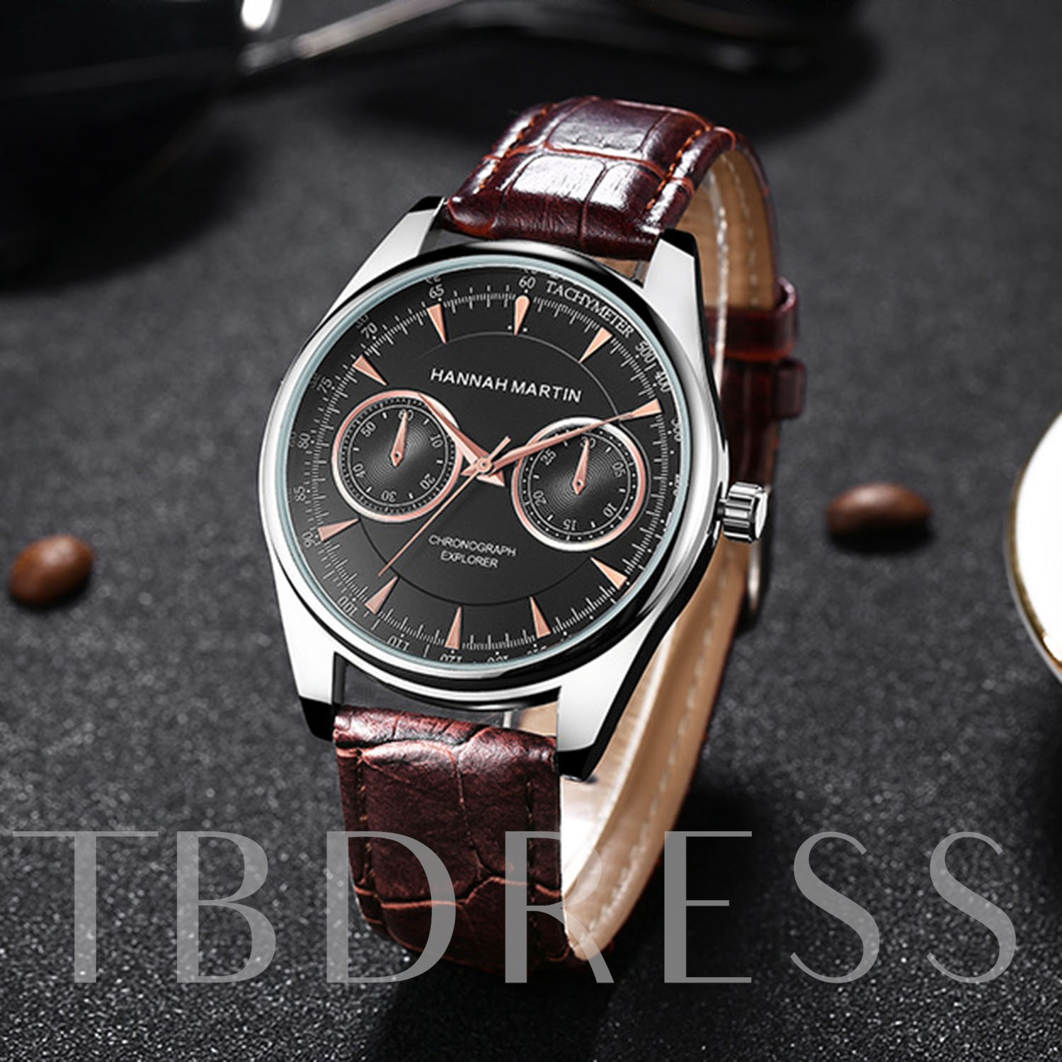 Three Eye Table Buckle Strap Alloy Men's Watches
