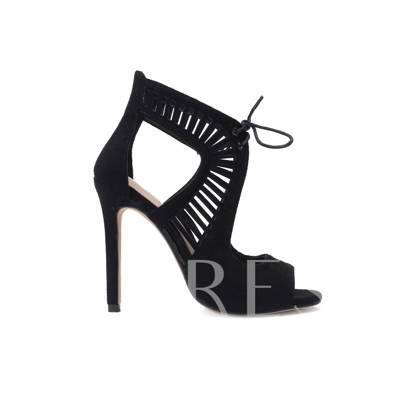 Peep Toe Suede Lace Up Hollow High Heels Pumps