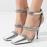 Metallic Shoes Square Toe Ankle Strap High Heel Silver Sandals
