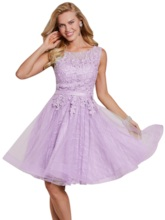 Scoop Neck Lace-Up Appliques A Line Homecoming Dress