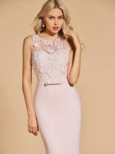 Mermaid Scoop Bowknot Lace Sweep Train Evening Dress