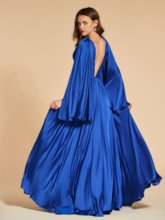 A-Line Long Sleeves Ruched Backless Evening Dress