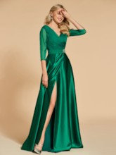 A-Line Beading Pockets Ruched Split-Front Evening Dress
