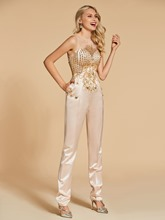 Beading Button Sheath Scoop Evening Jumpsuits