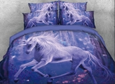 Unicorn in Woods Printed 4-Piece 3D Purple Bedding Sets/Duvet Covers