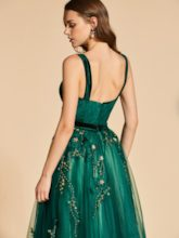 A-Line Beading Lace Empire Straps Evening Dress