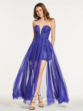 A-Line Lace Sweetheart Floor-Length Prom Dress
