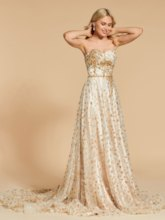 A-Line Sweetheart Beading Lace Sashes Evening Dress