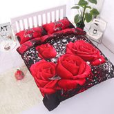 Red Rose Printing Cotton 4-Piece 3D LuxuryBedding Sets/Duvet Covers