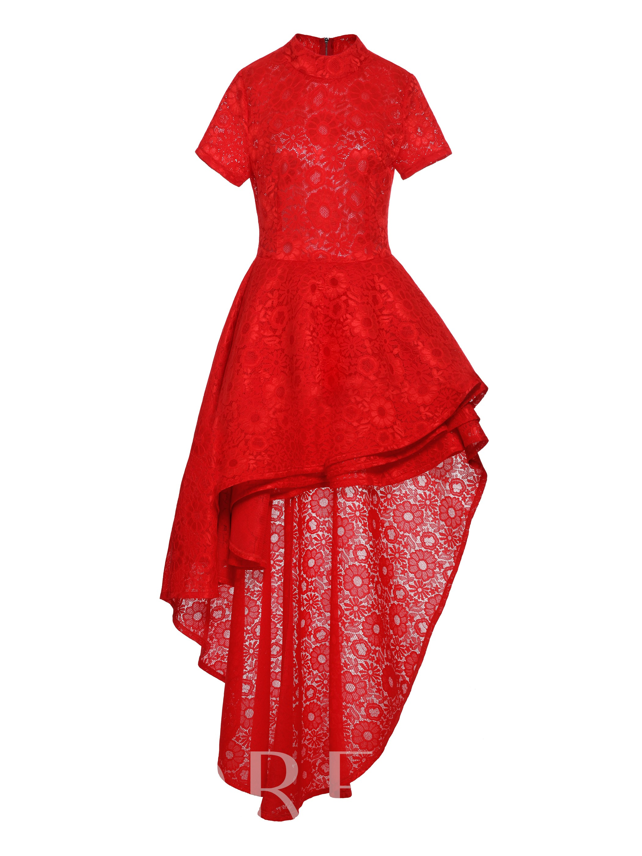 Plus Size Red Falbal Back Zip Lace Dress 13270735