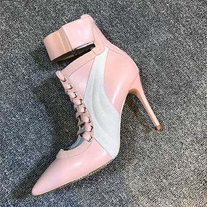 Pointed Toe High Heel Lace Athletic Ankle Boots