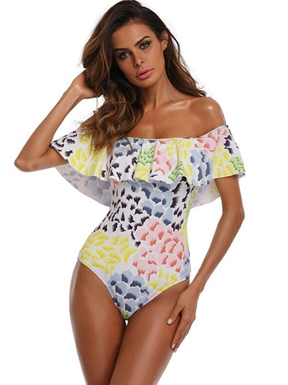 Falbala Flower Print Off-The-Shoulder One-Piece Swimsuit