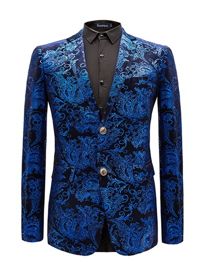 Blue Jacquard Print Double Button Slim Men's Blazer