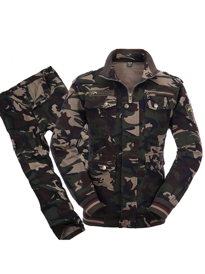 Camouflage Slim Plain Men's Outdoor Suit
