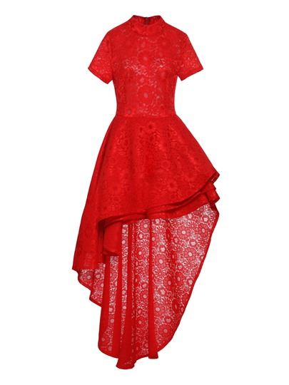Plus Size Red Falbal Back Zip Lace Dress