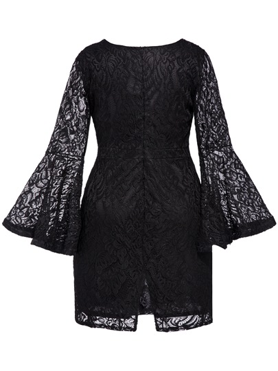 Black Plus Size Bell Sleeve Women's Lace Dress