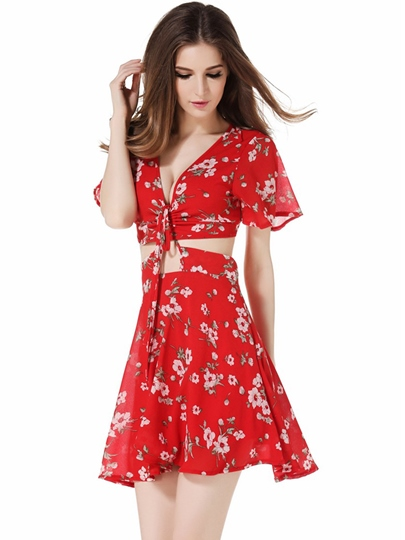Red Floral Double-Layered Women's Sexy Dress