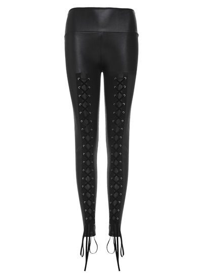 Thin Ankle Length Lace-Up Women's Leggings