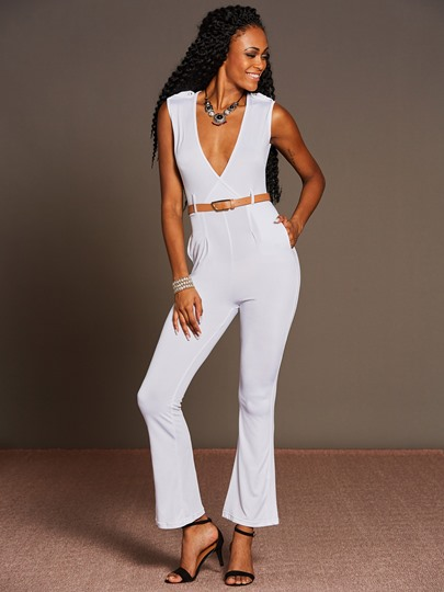 V-Neck Solid Color Palazzo Women's Jumpsuit