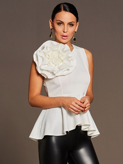 Big Flower Detail Plain Slim Skirt Hem Women's Blouse
