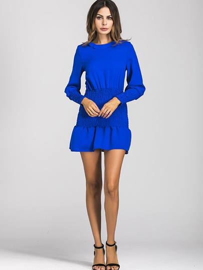 Elastical Blue Women's Bodycon Dress