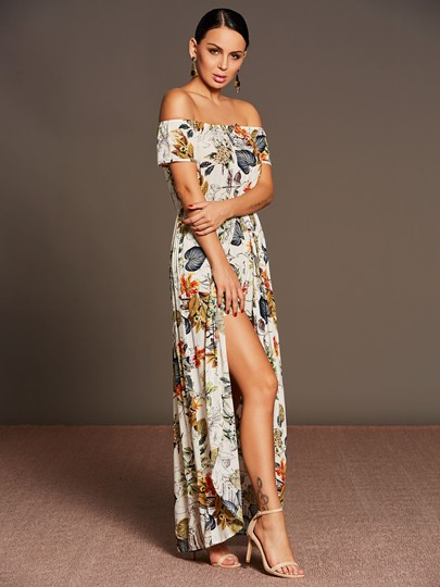 Boat Neck Flower Print Graceful Women's Jumpsuits
