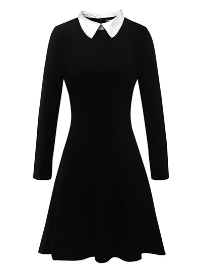 Peter Pan Collar Black Womens Day Dress Peter Pan Collar Black Women's Day Dress