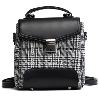 Stylish Color Block Plaid Women Backpack