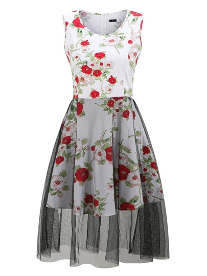 Mesh Patchwork Printing Women's Day Dress