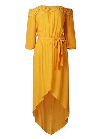 Yellow Off Shoulder Women's Maxi Dress