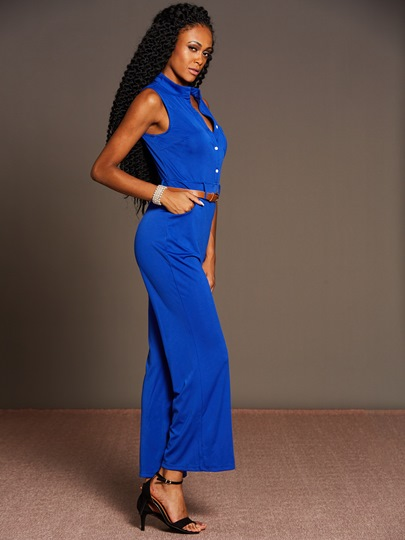 Solid Color Palazzo Buckle Women's Jumpsuit