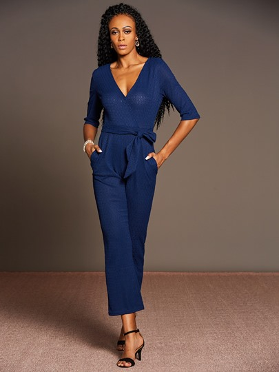 V-Neck Half Sleeve Plain Women's Jumpsuit