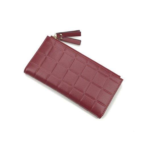 Korean Style Quilted Lining Solid Color Wallet