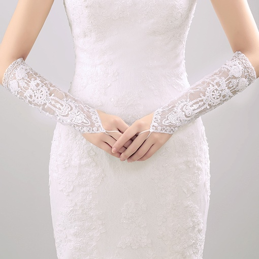 Fingerless Wedding Gloves with Appliques